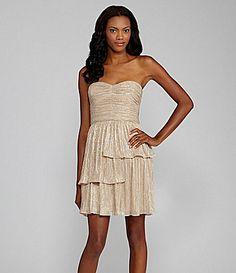 bridesmaid dress    Max and Cleo Rebecca Metallic Strapless Tiered Dress #Dillards