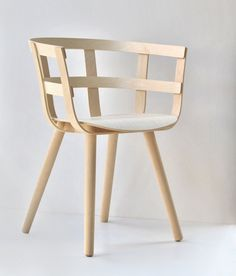 A café chair inspired by the Finnish birch basket. #furnituredesign