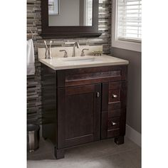 Web Photo Gallery Shop allen roth Marbled Beige Quartz Undermount Bathroom Vanity Top Common