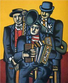 LEGER Fernand - French (Argentan 1881-1955 Gif-sur-Yvette) - CUBISM -  Naïve Art (Primitivism)   Three musicians