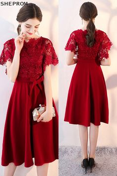 Onsale, Lace Sleeve Tea Length Party Dress with Sleeves at SheProm. is an online store with Frock For Teens, Frock For Women, Dresses For Teens, Dresses Uk, Modest Dresses, Trendy Dresses, Fashion Dresses, Formal Dresses, Midi Dresses