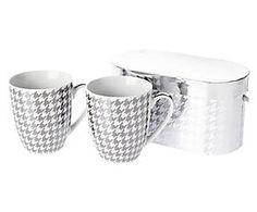 2 Tasses à café adriana, porcelaine et métal - H11
