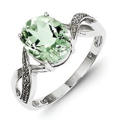 Diamond & Prasiolite Quartz Ring in Sterling Silver - Wonderful - Oval available at joyfulcrown.com