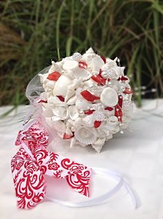 Seashell Bouquet Red White Wedding Jeweled by BeachBasketBride