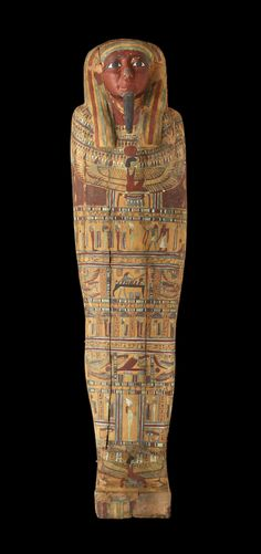 A painted coffin with a mummy inside, from the late 25th Dynasty or early 26th Dynasty of ancient Egypt, approximately 700 to 600 BCE (© 2015 The Field Museum, photo by John Weinstein)