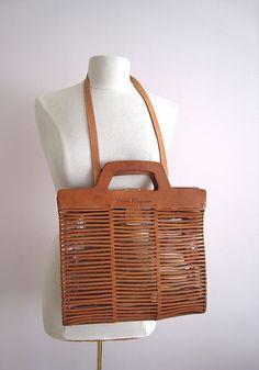 Vintage Salvatore Ferragamo Purse Caramel Leather Strips Clear Liner from escapetoelegance on Ruby Lane