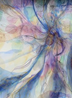 ARTFINDER: Bountiful by Helen Wells - A beautiful abstract watercolour painting. It depicts a visually rich, illusionary landscape. Inspired by the concept of generosity and abundance as the dual...