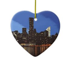 Graphic of the skyline of New York at night Ornament