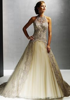 Elegant A-Line/Princess Halter Chapel Train Satin Tulle Wedding Dress with Lace Beadwork