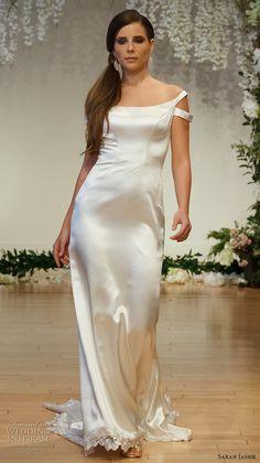 sarah jassir 2017 bridal off the shoulder scoop neck simple clean satin elegant sheath wedding dress sweep train (13) mv