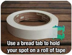 Using Bread Bag tabs to mark tape.