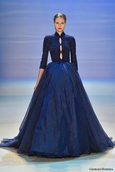 georges hobeika fall 2014 2015 couture wedding dress dark blue