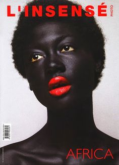 l'insensé I love the contrast that is going on in this cover. The color of her lips being very vibrant red and matching the type. I like that the title is very bold. Her skin also helps make this contrast  more defined.