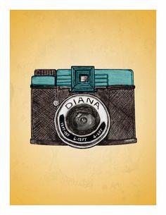 Dreamy Diana  vintage camera illustration  by HouseofTenderBeasts, $20.00