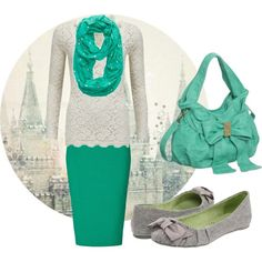 """Emerald!"" by Polyvore. Love the lace blouse, adorable bag, and bow flats. So . . . I love everything about it!"