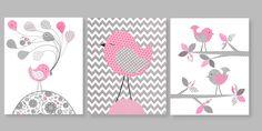 Printable Nursery Art Gray and Pink Girl's by SweetPeaNurseryArt, $12.00