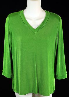 Citiknits Green 3/4 Long Sleeve V-Neck Top Womens Shirts Size Small