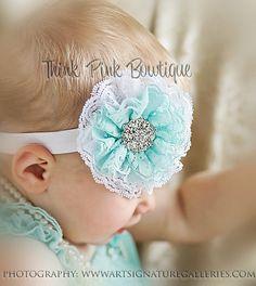 Baby headband flower headband headband shabby by ThinkPinkBows, $8.95