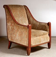 Pair of armchairs by Maurice Dufrene, French c.1925 in sculpted mahogany | Exhibitor: Calderwood Gallery #AVENUE #Dufrene