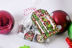 Ugly Christmas Sweater Party Printable Thank You Tags, great for tying up a bag of chocolates to hand out as party favors for your Ugly Sweater Party.