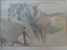 Working Horses: pencil and crayon drawing, early C 20th, Circle of Alfred Munnings. unsigned - Foxhouse Fine Art | Selected Works of Art, Ce...
