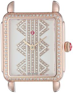 MICHELE Women's 'Deco II' Swiss Quartz Stainless Steel Casual Watch, Color:Rose Gold-Toned (Model: MW06I01B4980). Deco II is compatible with 16 mm straps. Number of Diamonds: 183 / Total Diamond Weight: 0.65 ct. Swiss-quartz Movement. Case Diameter: 26.5mm. Water resistant to 50m (165ft: in general, suitable for short periods of recreational swimming, but not diving or snorkeling.