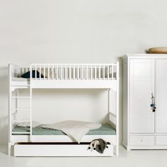 A scandinavian styled bunk bed with a vertical ladder and optional storage - ideal for smaller childrens bedrooms