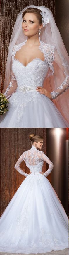 2014 New Style Free Jacket White/Ivory Tulle A-Line Applique Beading Bridal Gown Wedding Dresses Custom Size Vestido de Noiva