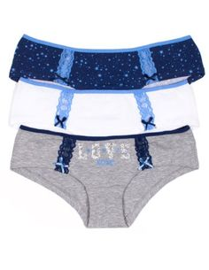 XOXO Juniors 3 Pack Cotton Hipster Panties with Lace Hip Details and Fun Patterns (Large, Love/Gray/White/NavyStars) XOXO http://www.amazon.com/dp/B00KCV5L9M/ref=cm_sw_r_pi_dp_l4tZtb0EDGH51TB7