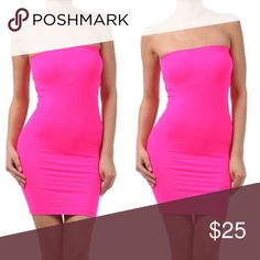 Neon pink body con dress -Brand new  -Price is firm   Sizes: Fits 90-150 lbs.  Material: Seamless                92% Polyester, 8% Spandex Dresses Mini
