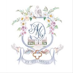 Latest crest work; violets, magnolias, olive branch, Cherokee roses, snowy owl, birds, feathers, quatrefoil and Boone house. #weddingcrest #crest
