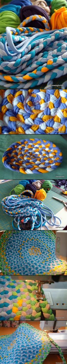 T-shirt rug: Just braid & sew, step by step.