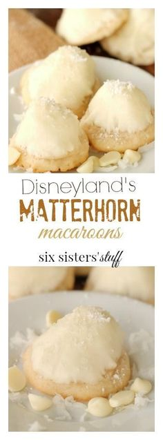 Matterhorn Macaroons from Six Sisters' Stuff | I just love the sweet smell of baking cookies, and I think that's another reason why Disneyland smells so great! These Matterhorn Macaroons are so tasty, and so easy to make. They are also adorable, and perfect for any party
