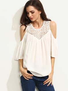 13$  Watch now - http://di8py.justgood.pw/go.php?t=3625 - White Crochet Cold Shoulder Blouse 13$