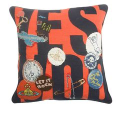 Wool and silk needlepoint pillow from The Rug Company