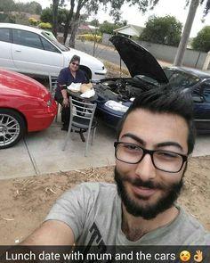 Lunch today with #mummabear and some of the cars ;) #Calibra #commodore #fishandchips #beard #beardsofinstagram day 85 of #beardgrowth #Persian #Australian by samaraiguy