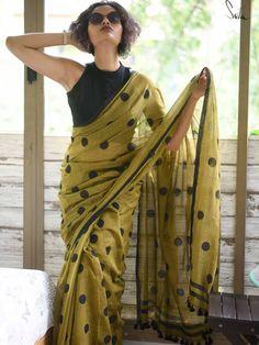Block Print Saree, Saree Look, Work Sarees, Printed Sarees, Printed Blouse, Wedding Wear, Gift Wedding, Cotton Saree, Cotton Blouses