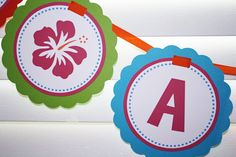 Luau Happy Birthday Party Large Banner - Any color or theme - girl or boy. $26.00, via Etsy.