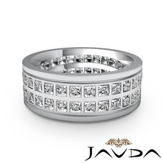 men's eternity bands | ... Diamond Mens Eternity Wedding Solid Band 9mm Classic Ring Platinum 3Ct