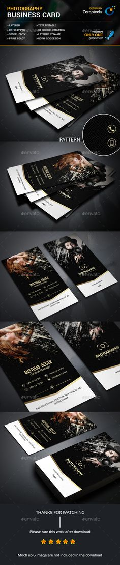Photography Business Card Design Template - Business Cards Template PSD. Download here: https://graphicriver.net/item/photography-business-card/17487336?ref=yinkira