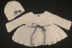 Pearl white crocheted sweater with matching hat on Etsy, $48.00