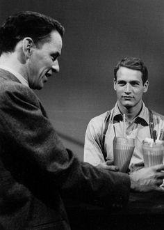 Paul Newman e Frank Sinatra in una versione televisiva de La piccola città di Thornton Wilder. 1955