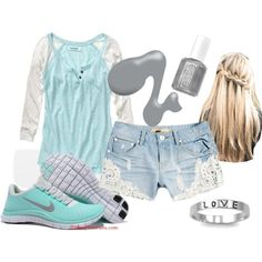 Baby Blue Baseball Tee...this is such a cute outfit!
