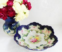 Blue Flow Bowl Hand Painted Embossed Vintage Collectable China Home Decor