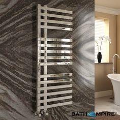 1200x450 mm Chrome Square Rail Designer Towel Radiator - BathEmpire