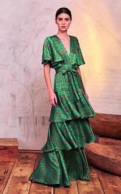 Murmullo Del Viento Tiered Floral-Print Satin Maxi Dress by Johanna Ortiz Silk Midi Dress, Tiered Dress, The Dress, Look Fashion, Fashion Photo, Fashion Dresses, Summer Dresses, Maxi Dresses, Glamour