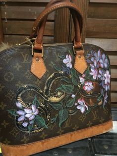 Hand painted Louis Vuitton Alma snake by TalkingSnake27 on Etsy