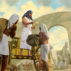 Joseph performs administrative duties for Pharaoh in Egypt - Because he remained humble, Joseph remained useful to Jehovah Joseph In Egypt, Sons Of Jacob, Bible Illustrations, Bible Pictures, Biblical Art, Bible Knowledge, Bible Stories, Bible Art, Christian Art