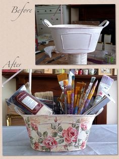 I love this basket, it was a gift and she really loved it!!!!! Decoupage with napkin