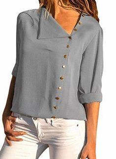 Casual Tops, Casual Shirts, Casual Chic, Casual Office, Blouse Bleu Marine, Chiffon Blouses, Women's Blouses, Fashion Blouses, Women's Fashion
